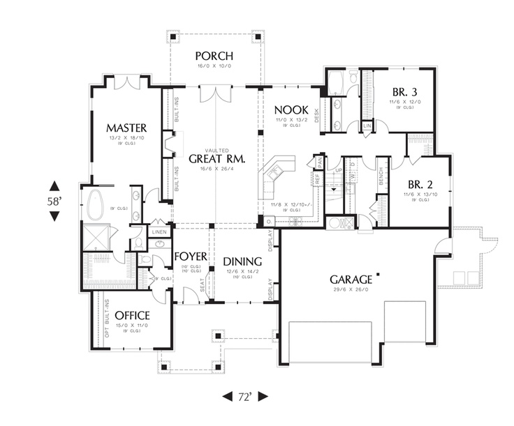 Mascord house plan 22157aa for Ashby house plan