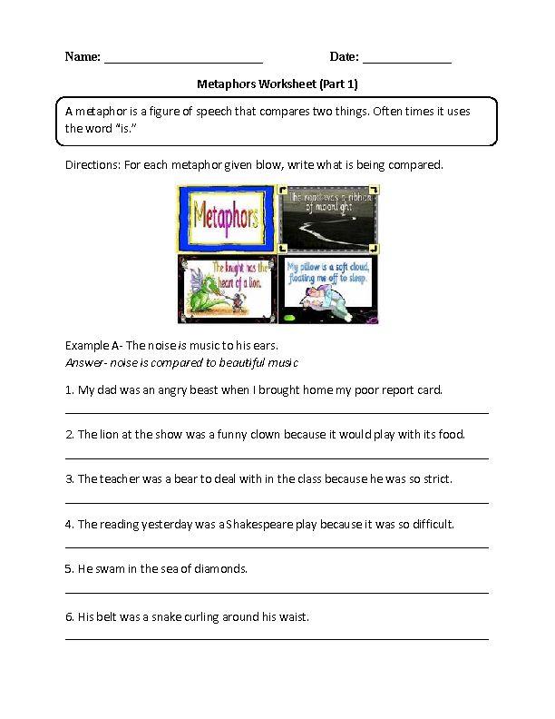 Metaphors Worksheets   teaching   Pinterest