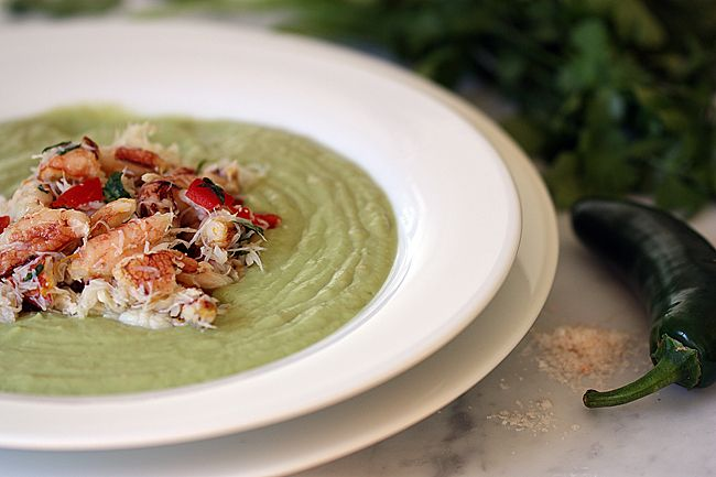 crab and avocado salad chilled avocado soup topped with crab easy ...