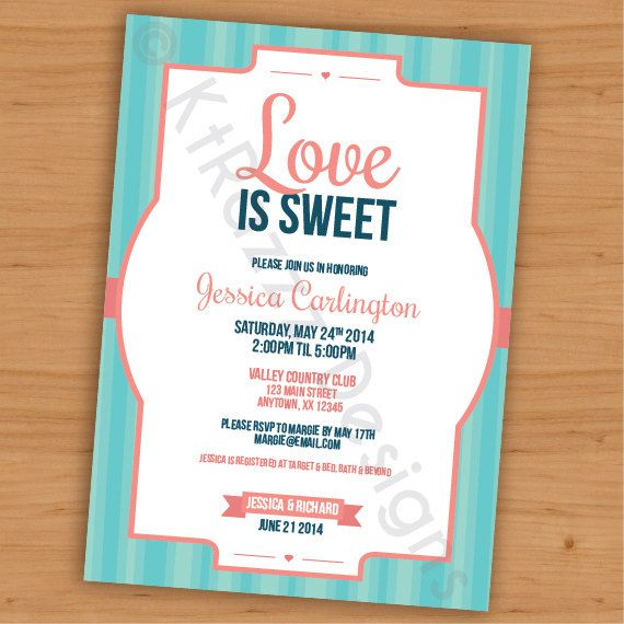 Love is Sweet Bridal Shower Invitation- Customizable - Digital File on ...