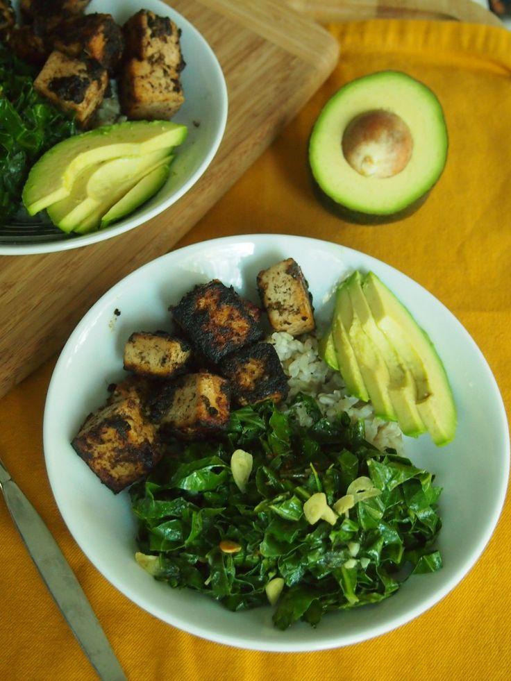 Jerk seasoned tofu, collards, avocado | Savory | Pinterest