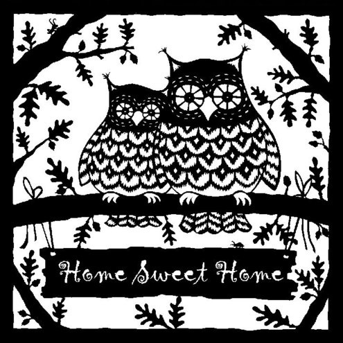 Home Sweet Home Owls  Giclee Print