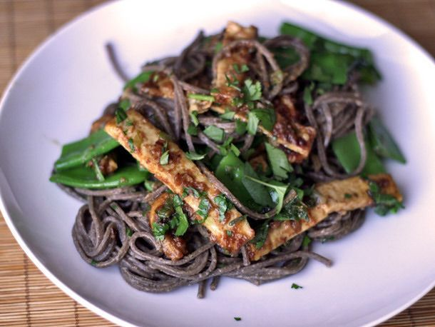 Almond Tofu with Buckwheat Noodles and Snow Peas