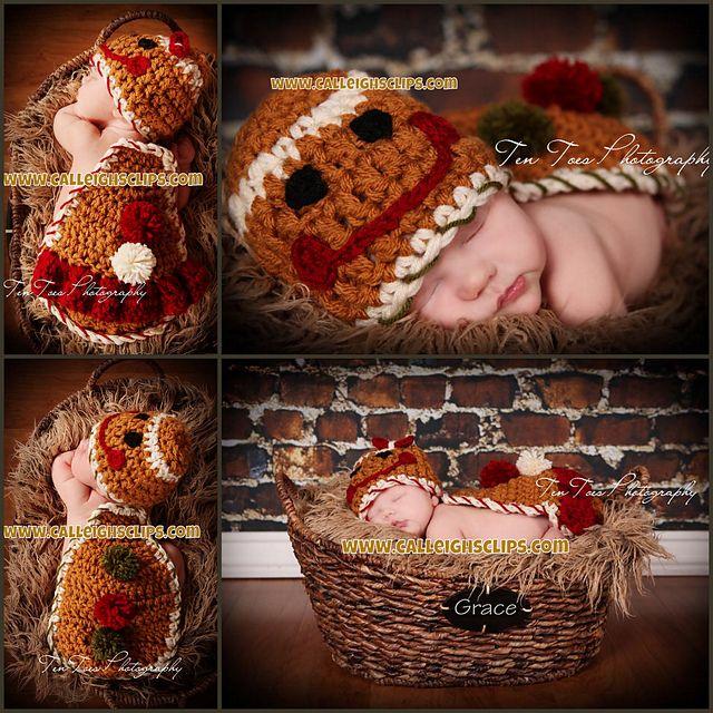 Ravelry: Gingerbread boy and girl - cuddle cape set - Newborn Prop pattern by Elisabeth Spivey  $5.95