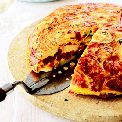 Spanish dish, tortilla is a thick omelet composed of potato, onions ...