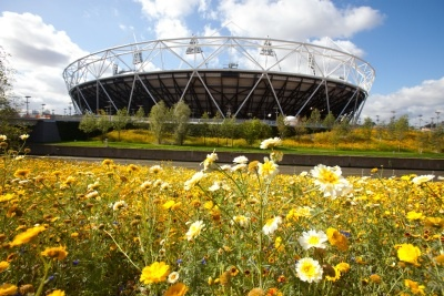 The parklands area in the south of the Olympic Park looking towards the Olympic Stadium in London. (AP Photo/Anthony Charlton, ODA, Ho, FILE)