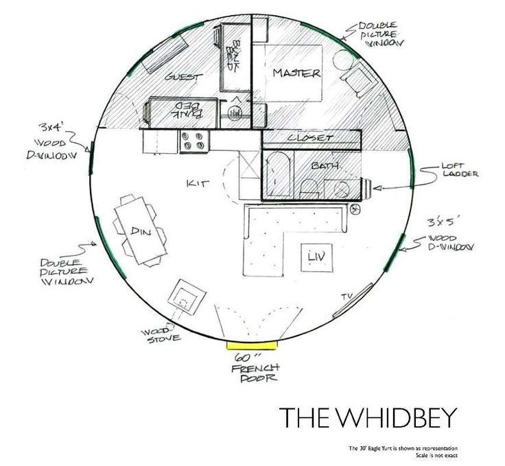 Yurt floor plans the whidbey cabin pinterest Yurt house plans