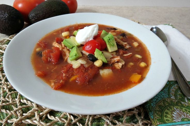 ... chicken soup chock full of tomatoes, sweet peppers, black beans, corn