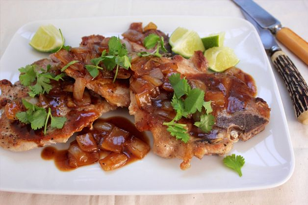 Hoisin-Sweet Onion Pork Chops. Could do this with chicken too!