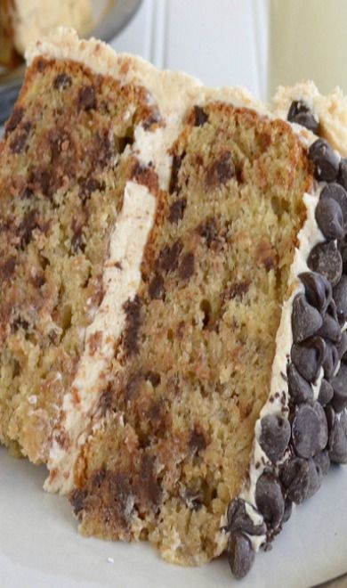 Banana-Chocolate Chip Cake With Peanut Butter Frosting Recipe ...