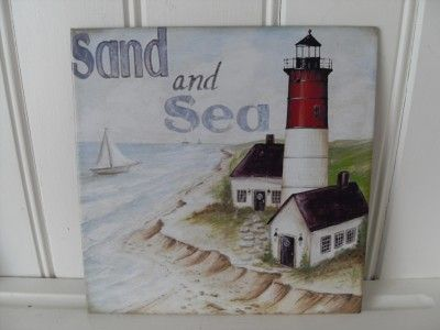 Lighthouse design metal wall plaque seashore nautical decor
