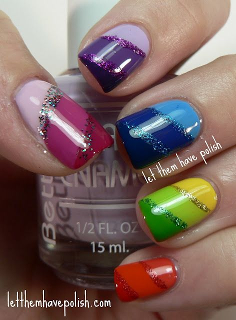 Rainbow nails w glitter. Sweeet.