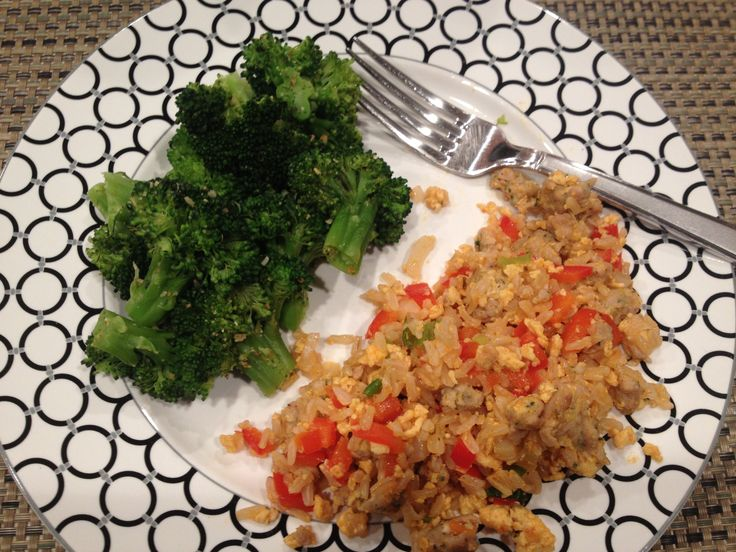 ... sriracha and broccoli with mrs dash garlic and herb dinner is served