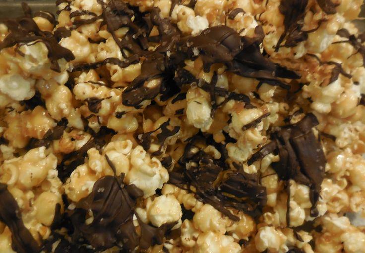 Salted Caramel & Dark Chocolate Popcorn   Desserts   Pinterest