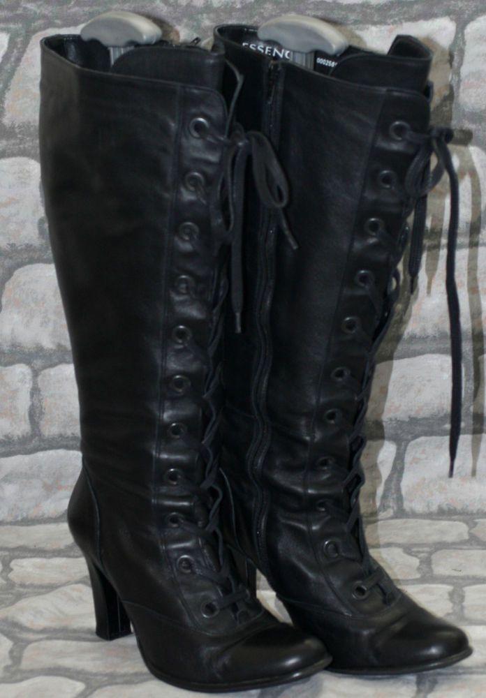 black wide calf steunk lace up