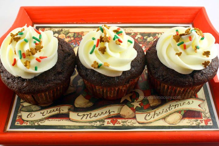 Chocolate Gingerbread Cupcakes With Cream Cheese Frosting | Recipe