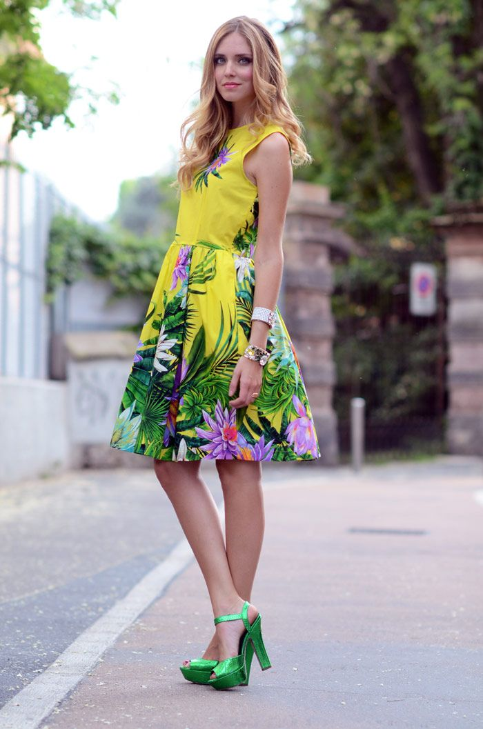 The Blonde Salad. Chiara in a fab tropical print.Streetstyle