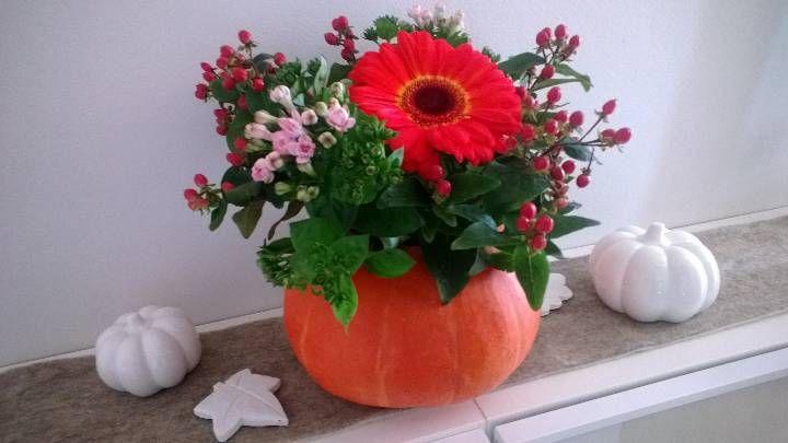 Herbstdeko Kürbis mit Blumen  Dynie  Pinterest