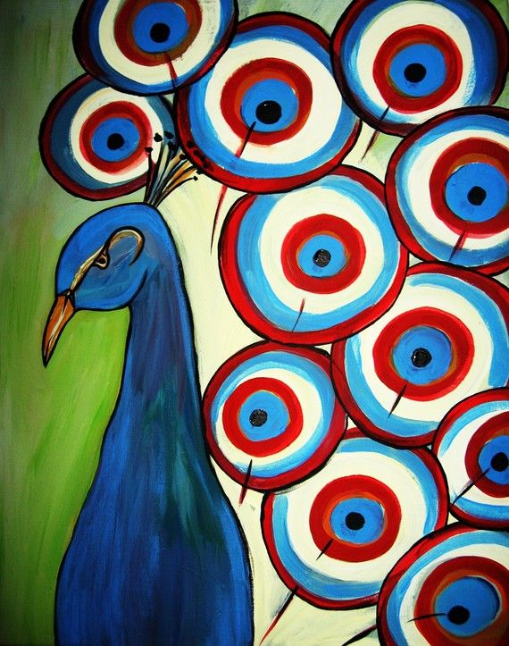 Peacock acrylic paintings - photo#22