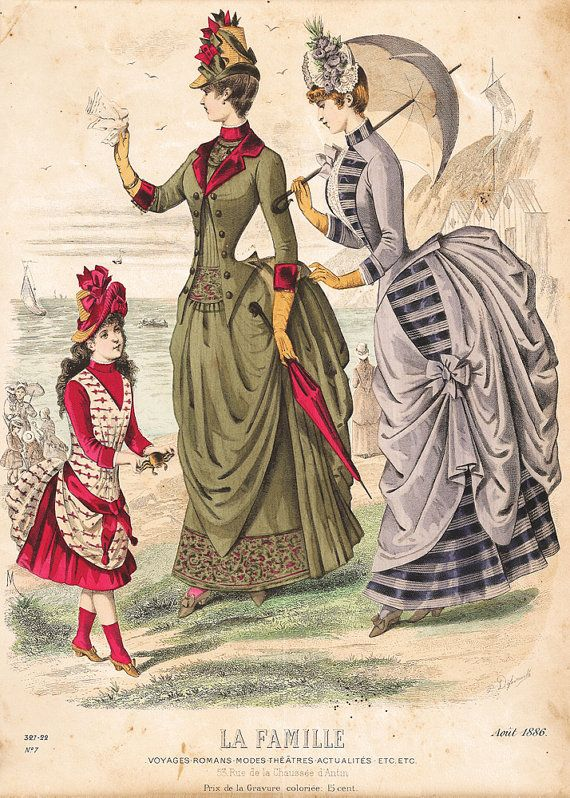 Antique fashion print reproduction - La Famille, August 1886