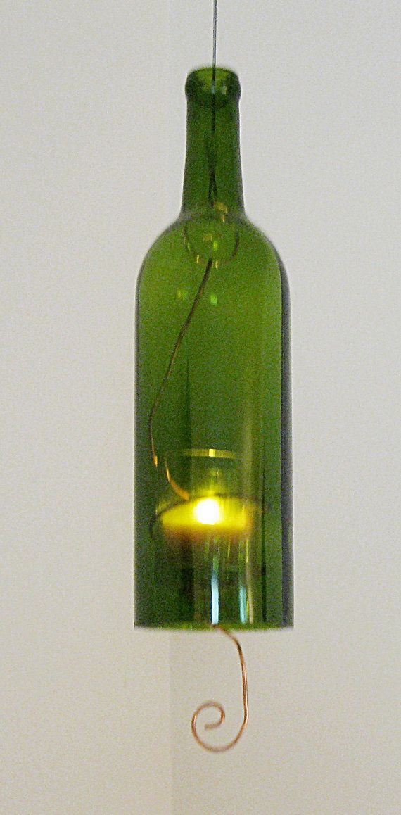 Green Recycled Wine Bottle Candle Hanging by Serendipitini on Etsy, $ ...