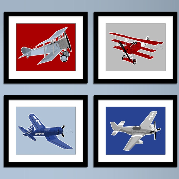 Kids wall art airplane nursery art ww 2 vintage Vintage airplane decor for nursery