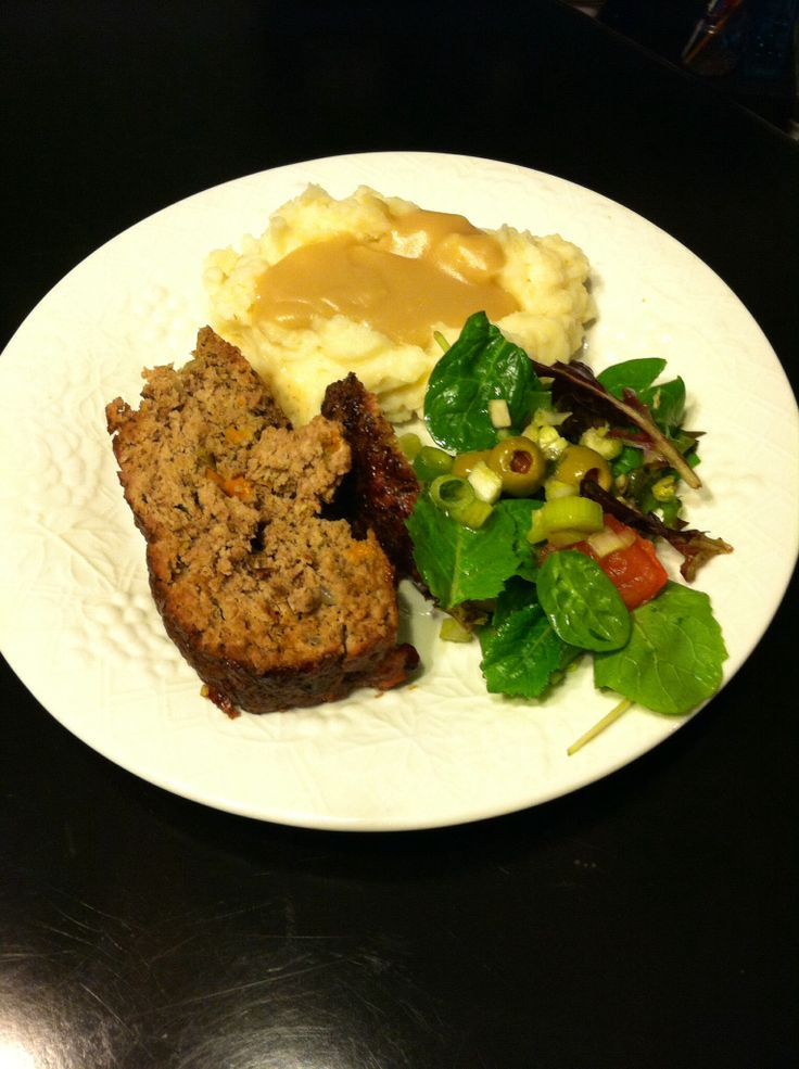 Beef, pork & lamb meatloaf. Garlic red mashed potatoes w/ (not a so ...