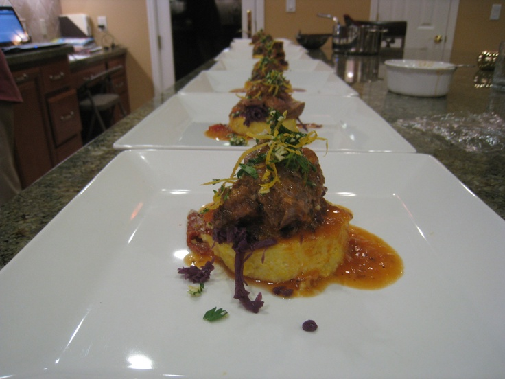 ... braised cabbage and a seared polenta and gorgonzola topped with a