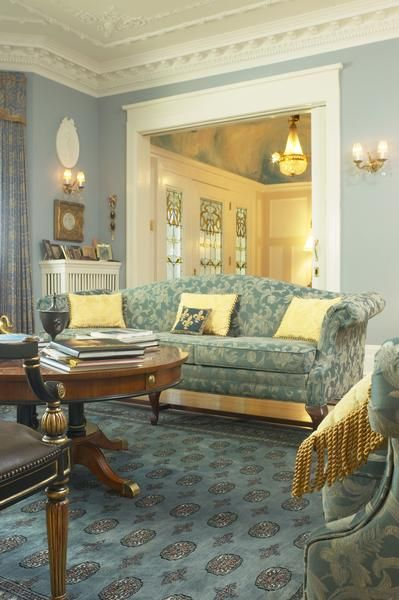 How To Decorate A Living Room With Soft Blue Gold Curtains