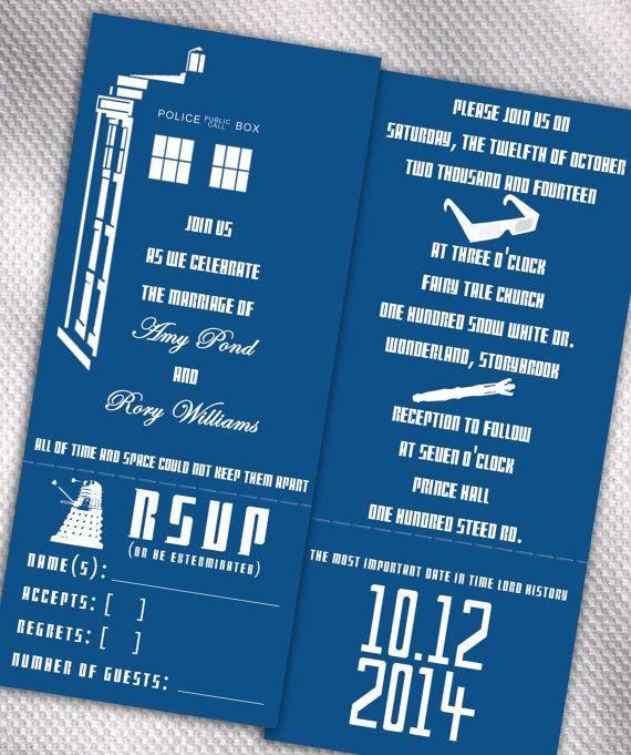 sample doctor who tardis wedding invitation set on etsy