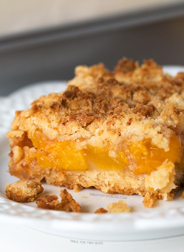 Peach Crumb Bars~ I really liked these, I added more peaches, and will ...