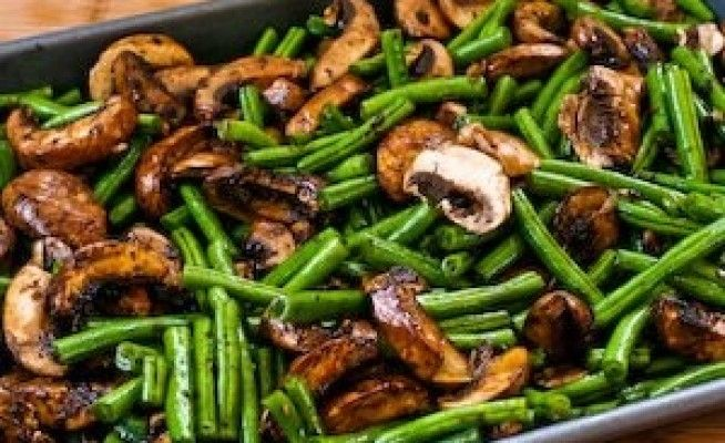 ... Recipe for Roasted Green Beans with Mushrooms, Balsamic, and Parmesan