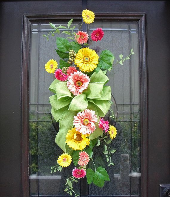 Spring swag spring wreaths front door wreath spring spring wall bo
