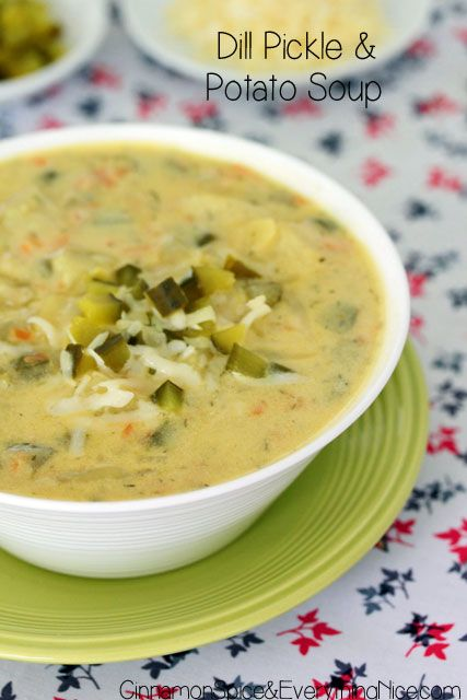 Dill Pickle and Potato Soup - A thick and creamy soup with potatoes, carrots, sour cream, Swiss cheese and dill pickles! The stars of the show! It sounds intriguingly weird and awesome to me!