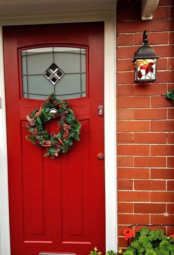 Festive red composite front door 1930 39 s style 1930 39 s for 1930 front door