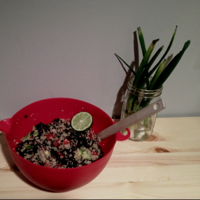 Quinoa, black beans, kale, avocado salad with fresh lime juice and hot ...