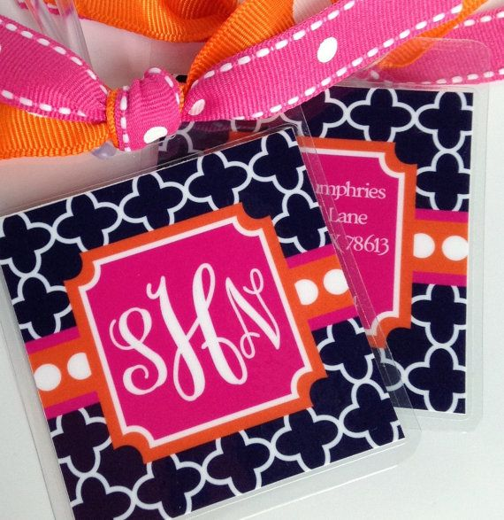 square monogrammed preppy luggage tags set of 2 by ColorLinks, $12.50