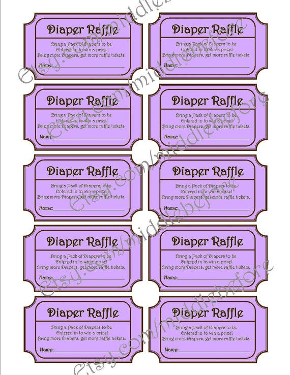 Purple Printable Baby Shower Diaper Raffle Ticket by MiddleBefore, $8 ...