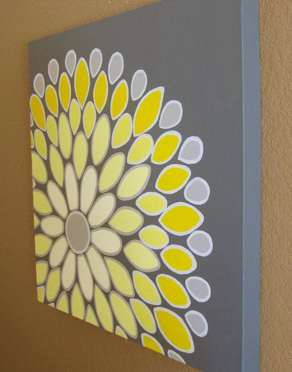 Wall Art Yellow And Grey Abstract Flower 20x20 Acrylic Painting On