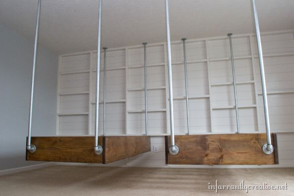 Industrial wood and pipe hanging beds - Beds hanging from ceiling ...