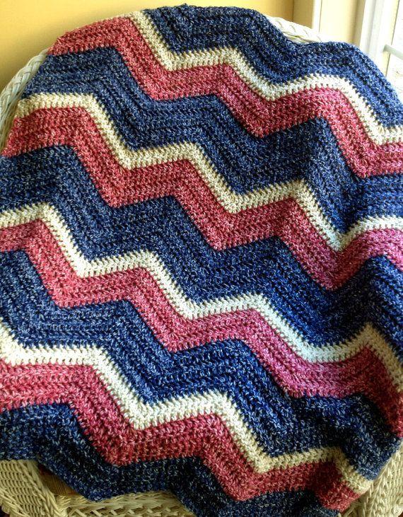 Crochet Zig Zag Afghan : new chevron zig zag baby blanket afghan wrap crochet handmade photo p ...