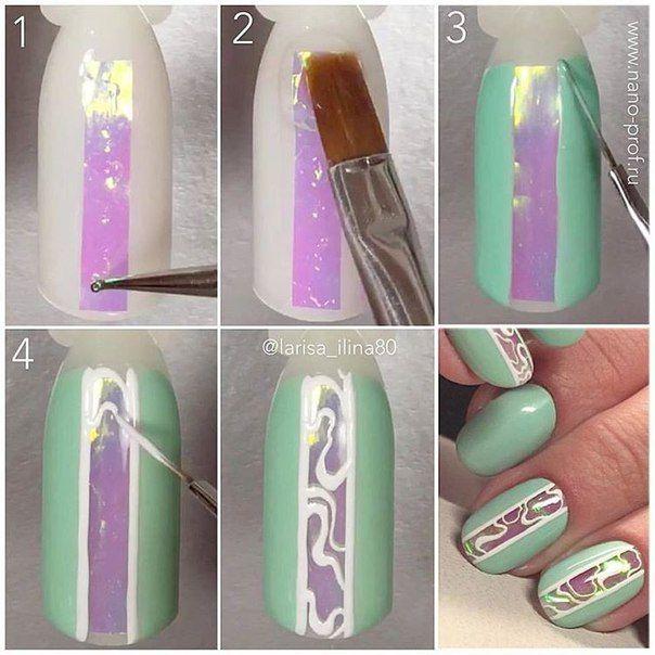 Как сделать дизайн ногтей битое стекло пошагово