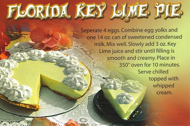 Another Florida Key Lime Pie recipe postcard available for trade ...
