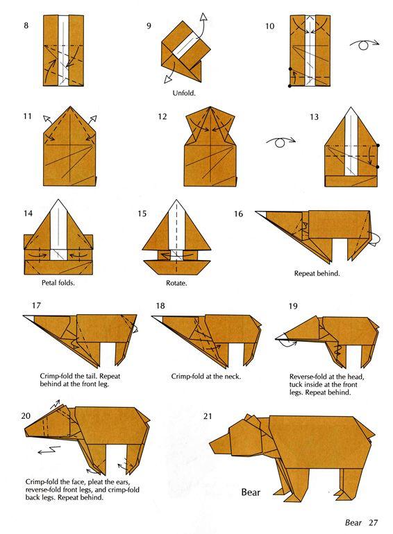 Инструкция как сделать медведя из бумаги