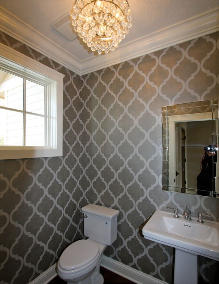 Main floor bathroom wallpaper decorating ideas pinterest for Bathroom wallpaper patterns