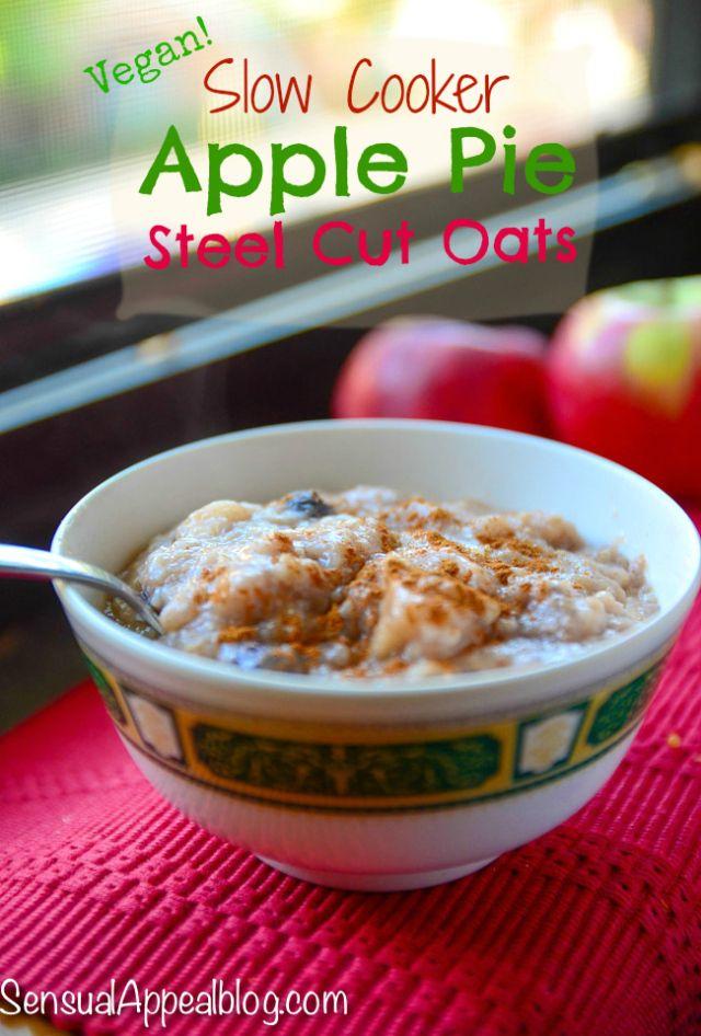 Slow cooker Apple Pie Steel Cut Oats (Vegan & Gluten free)