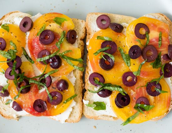 Open-Faced Heirloom Tomato Sandwiches from Love and Olive Oil