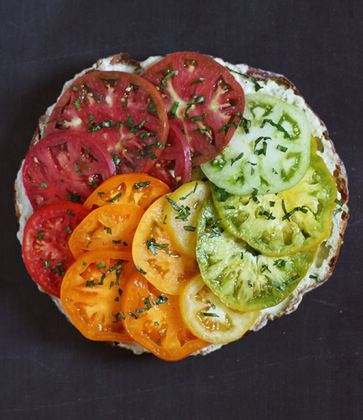 ... tomato sandwich ever, with a beautiful rainbow of heirloom tomatoes