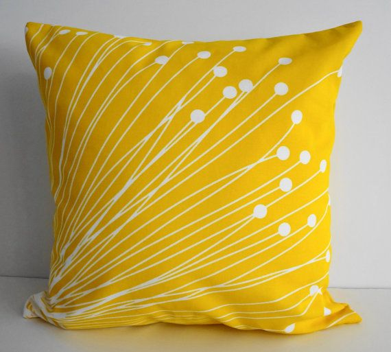Bright Yellow Decorative Pillows : Yellow Starburst Pillow Covers - Decorative Throw Pillow Covers - Sun?