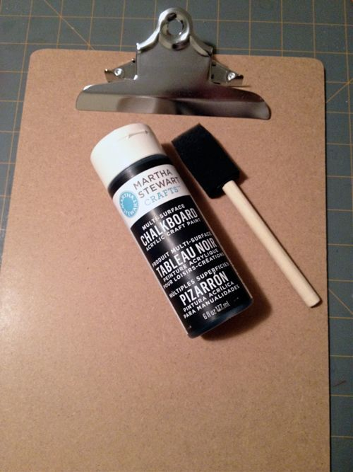 ... clipboard with chalkboard paint and....voila! Instant mini chalkboard